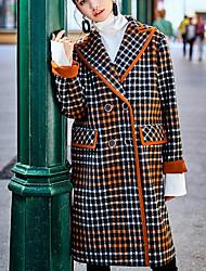 Feminino Casaco Casual Para Noite Moda de Rua Outono Inverno,Xadrez Longo Poliéster Gola Peter Pan Manga Longa