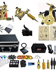 cheap -ShiFei Tattoo Machine Professional Tattoo Kit 3 alloy machine liner & shader High Quality 360 2 x aluminum grip 4 x disposable grip 50