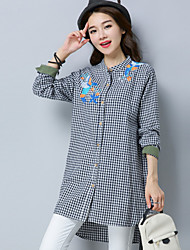 cheap -Women's Daily Going out Vintage Shirt,Check Shirt Collar Long Sleeves Cotton Linen