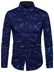 billige -Tynd Herre Trykt mønster Forretning Weekend Skjorte Bomuld