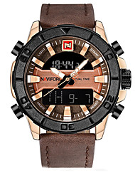 cheap -Women's Sport Watch / Military Watch / Digital Watch Japanese Calendar / date / day / Chronograph / Water Resistant / Water Proof Genuine Leather Band Luxury / Vintage / Casual Black / Brown / LCD