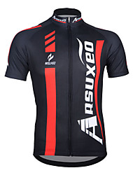 Arsuxeo Cycling Jersey Men's Short Sleeves Bike Jersey Top Quick Dry Anatomic Design Front Zipper Breathable 100% Polyester Patchwork