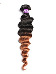 povoljno -Ljudska kosa Peruanska kosa Ombre Ekstenzije za kosu 1pc Crno / Srednja Auburn