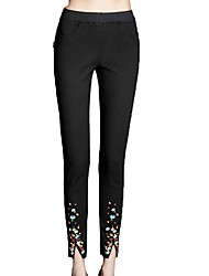 Women's Mid Rise Micro-elastic Skinny Pants,Casual Embroidered Cotton Rayon All Seasons