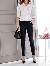 cheap -Women's Mid Rise Inelastic Chinos Business Pants,Casual Striped Fall