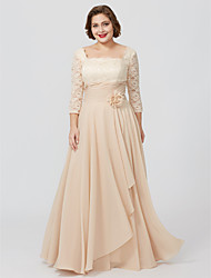 cheap -Sheath / Column Square Neck Floor Length Chiffon Metallic Lace Mother of the Bride Dress with Sash / Ribbon Flower by LAN TING BRIDE®