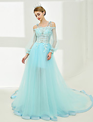 cheap -A-Line Off-the-shoulder Chapel Train Tulle Prom Formal Evening Dress with by SG
