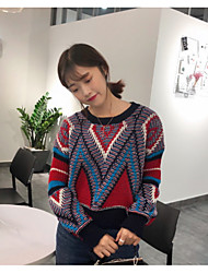 Women's Daily Wear Going out Short Pullover,Color Block Vintage Crew Neck Long Sleeves Acrylic Winter Fall/Autumn Thick strenchy