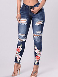 cheap -Women's Vintage Skinny Skinny Jeans Pants - Floral Embroidered, Hole Ripped