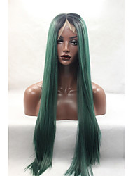 cheap -Women Synthetic Wig Lace Front Medium Length Long Green Natural Hairline Natural Wigs Costume Wig