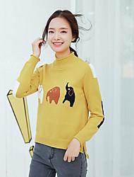 Standard Pullover Da donna-Casual Tinta unita Dolcevita Manica lunga Cotone Primavera/Autunno Medio spessore Media elasticità