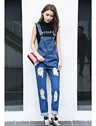 economico -Da donna A vita medio-alta Casual Anelastico Jeans Tuta da lavoro Pantaloni,Tinta unita Autunno