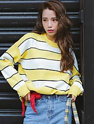 preiswerte -Damen Kurz Pullover-Lässig/Alltäglich Gestreift Rundhalsausschnitt Langarm Acryl Herbst Winter Mittel Mikro-elastisch