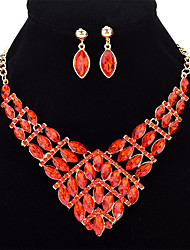 Women's Rhinestone Sweet Statement Jewelry Elegant Crystal Alloy Leaf Geometric Earrings Necklace For Wedding Party Halloween Birthday