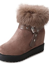cheap -Women's Shoes Cashmere Winter Combat Boots Boots Null Chunky Heel Round Toe Null / for Casual Black Khaki