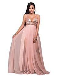 Недорогие -Жен. С летящей юбкой Платье - Однотонный V-образный вырез Макси