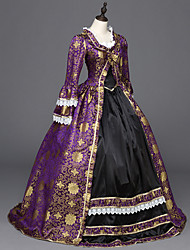 cheap -Victorian Rococo Ladies' One Piece Dress Purple Cosplay Satin Long Sleeves Floor Length