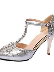 preiswerte -Damen Schuhe Leder Glanz maßgeschneiderte Werkstoffe Frühling Sommer Komfort Neuheit High Heels Peep Toe Kristall Für Hochzeit Party &