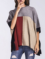 cheap -Women's Daily Wear Regular Pullover,Striped Round Neck ½ Length Sleeve Acrylic Fall/Autumn Thick Stretchy