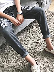 cheap -Men's Basic Slim Jeans Pants - Solid Colored, Hole