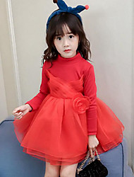 cheap -Girl's Daily Going out Patchwork Dress,Rayon Polyester Winter Fall Long Sleeves Street chic Princess Black Red