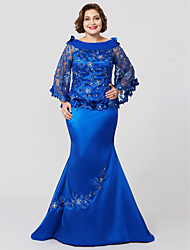 cheap -Mermaid / Trumpet Cowl Neck Sweep / Brush Train Lace Charmeuse Mother of the Bride Dress with Crystal Detailing Flower(s) by LAN TING