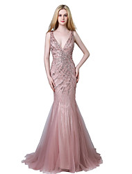 cheap -Mermaid / Trumpet V-neck Court Train Tulle Prom Formal Evening Dress with Beading by Sarahbridal