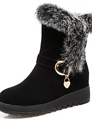 cheap -Women's Shoes Leatherette Winter Comfort Snow Boots Boots Round Toe Booties/Ankle Boots For Party & Evening Dress Burgundy Dark Brown