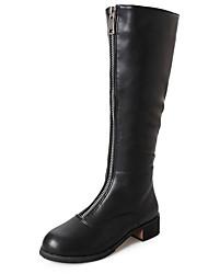 Feminino Sapatos Couro Ecológico Inverno Conforto Botas da Moda Botas Ponta Redonda Botas Cano Alto Para Casual Preto