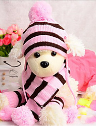 cheap -Cat Dog Hats, Caps & Bandanas Dog Scarf Dog Clothes New Casual/Daily Keep Warm Stripes Headwarmers Stripe Rainbow Pink Yellow
