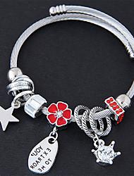 preiswerte -Damen Bettelarmbänder Strass Modisch Süß Europäisch Aleación Stern Blume Schmuck Party Alltag Modeschmuck Weiß Schwarz Rot