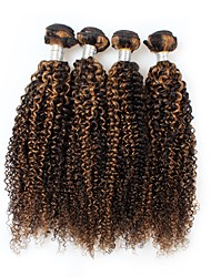cheap -4 Pieces Black/Light Brown Curly Peruvian Human Hair Weaves Hair Extensions