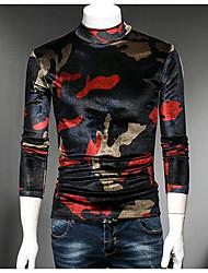 Langærmet Rund hals Herrer camouflage Gade Afslappet/Hverdag T-shirt,Bomuld