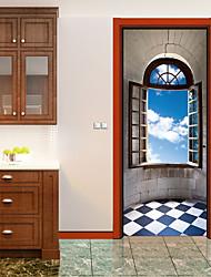 abordables -Paysage 3D Stickers muraux Autocollants muraux 3D Autocollants muraux décoratifs, Vinyle Décoration d'intérieur Calque Mural Mur