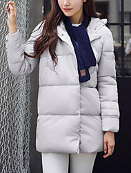 Langærmet Normal Dunjakke Dame Frakke,Simpel Casual/hverdag Ensfarvet-Polyester Hvide andedun Blå / Rosa / Hvid / Sort
