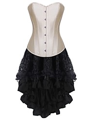 cheap -Women's Corset Dresses Solid-Medium Beige