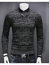 Недорогие -Для мужчин На каждый день Обычный Пуловер Однотонный,V-образный вырез Длинный рукав Хлопок Средняя Слабоэластичная