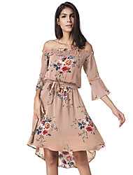 cheap -Women's Daily Going out Vintage Casual Sexy Boho Street chic Loose Chiffon Dress,Floral Geometric Print Boat Neck Above Knee Asymmetrical