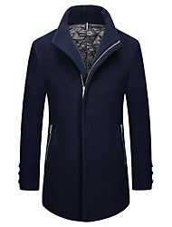 cheap -Men's Wool Coat - Solid Colored Shirt Collar