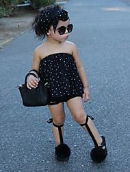 cheap -Girls' Polka Dot Clothing Set, Cotton Spring Summer Sleeveless Cute Active Street chic Black