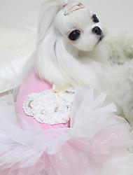 baratos -Cachorro Roupas para Cães Princesa Azul / Rosa claro Tecido de Algodão Ocasiões Especiais Para animais de estimação Verão Mulheres De Renda