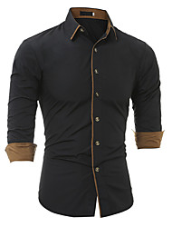 cheap -Men's Daily Vintage Fall Shirt,Solid Round Neck Long Sleeves Cotton Opaque