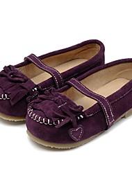Недорогие -Девочки Обувь Кожа Весна Осень Удобная обувь На плокой подошве Бант На эластичной ленте для Повседневные Для праздника Лиловый Желтый