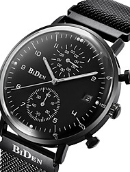 cheap -Men's Casual Watch Fashion Watch Quartz Calendar Stopwatch Stainless Steel Band Luxury Casual Cool Black Silver