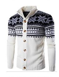 cheap -Men's Active Long Sleeves Cardigan - Color Block Shirt Collar