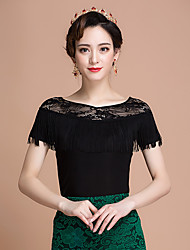 cheap -Ballroom Dance Tops Women's Performance Ice Silk Lace Short Sleeve Tops