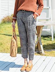 economico -Da donna A vita medio-alta Casual Media elasticità Pantaloni Pantaloni,Pied-de-poule Autunno