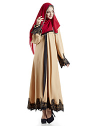 cheap -Women's Boho Flare Sleeve Loose Swing Abaya Dress - Color Block, Lace Cut Out Maxi V Neck