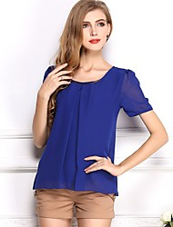 cheap -Women's Daily Wear Work Street chic Summer Blouse,Solid Vintage Round Neck Short Sleeves Polyester
