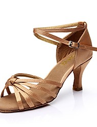 cheap -Women's Latin Shoes Silk Sandal Customized Heel Customizable Dance Shoes Brown / Black / Gold / Nude / Indoor / Leather